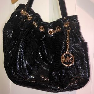 Michael Kors cocodrile shiny new handbag with gold